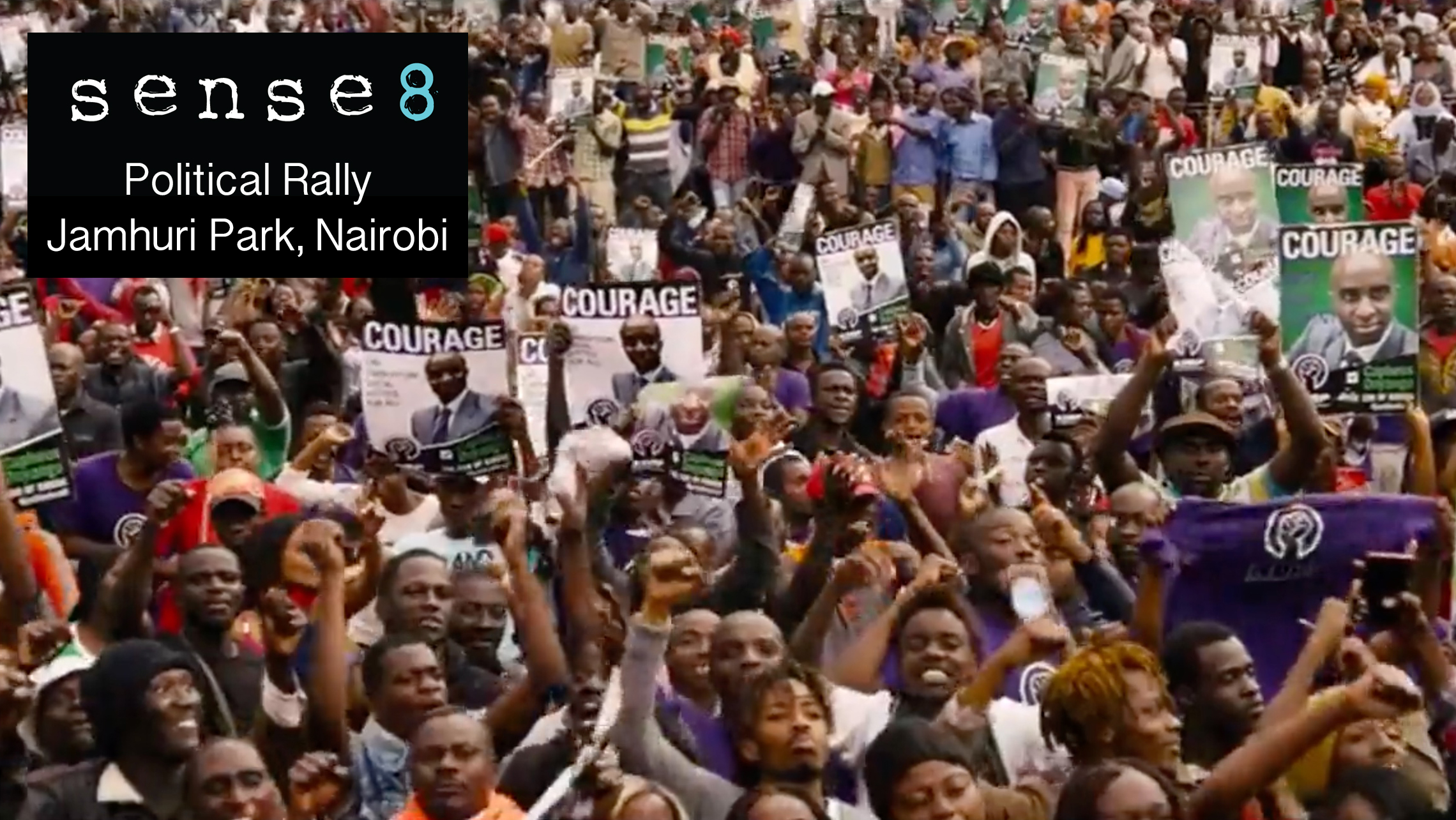 Political rally scene from Sense8